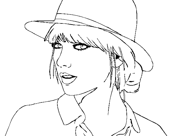 taylor swift with hat coloring page coloringcrewcom