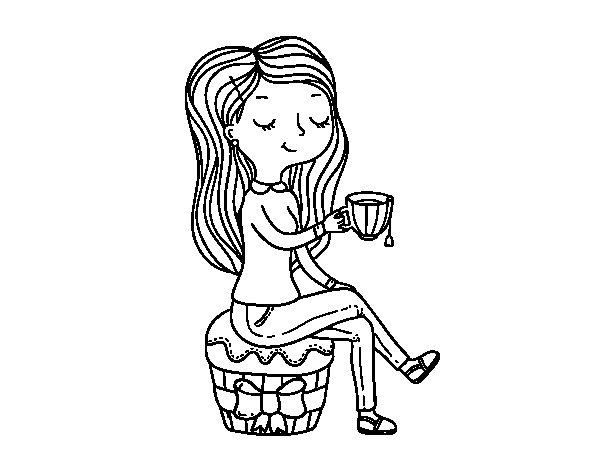 Tea time coloring page