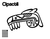 The Aztecs days: the Caiman Cipactli coloring page