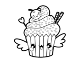 The Cupcake kawaii coloring page