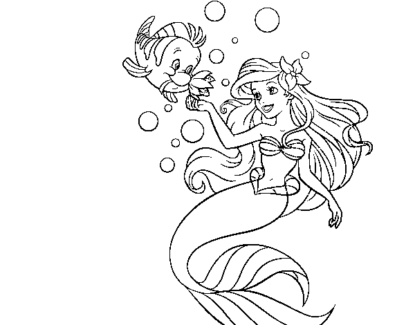 The Little Mermaid Coloring Pages Ariel And Flounder : Ariel flounder coloring pages images