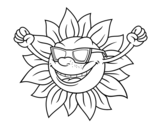 The sun with sunglasses coloring page