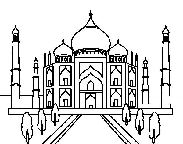 The Taj Mahal Coloring Page Coloringcrew Com Taj Mahal Coloring Page