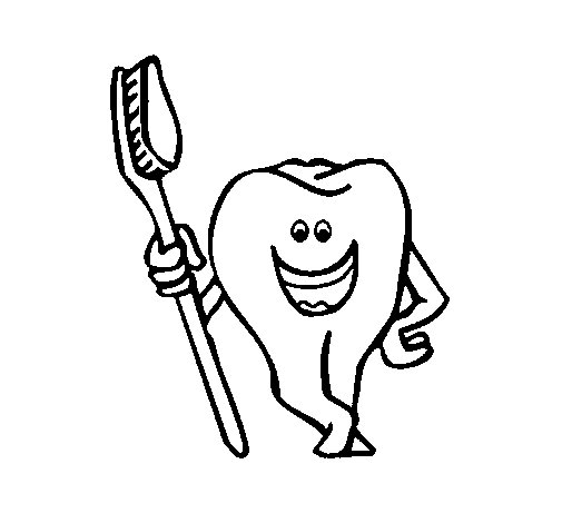 Tooth and toothbrush coloring page - Coloringcrew.com