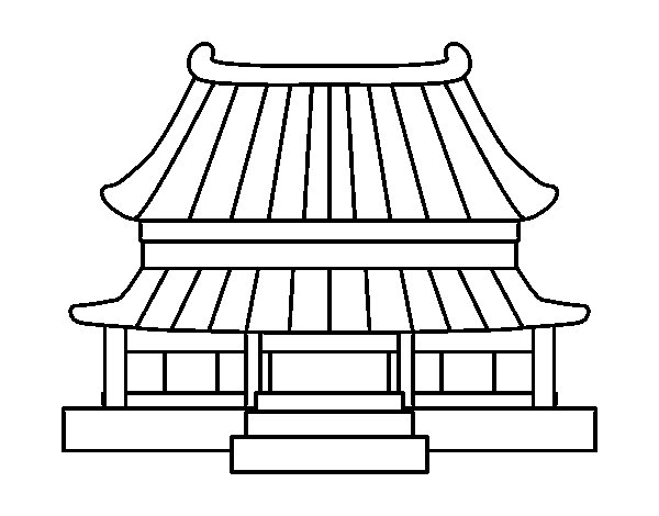 Traditional Chinese House Coloring Page