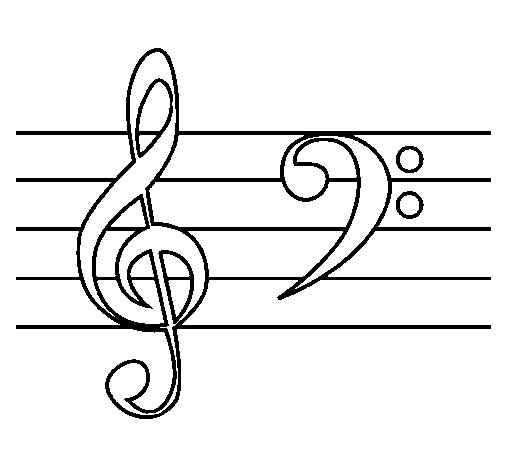 Treble And Bass Clefs Coloring Page Coloringcrew Com Treble Clef Coloring Page