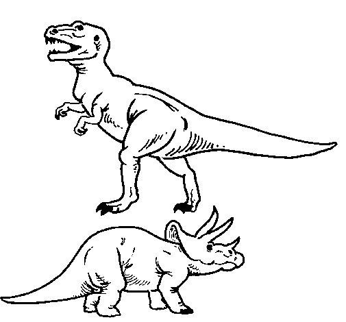 triceratops-and-tyrannosaurus-rex-colorear