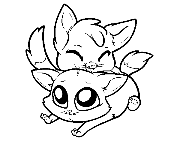 two kittens coloring page coloringcrewcom the