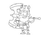 Viking with big ax coloring page