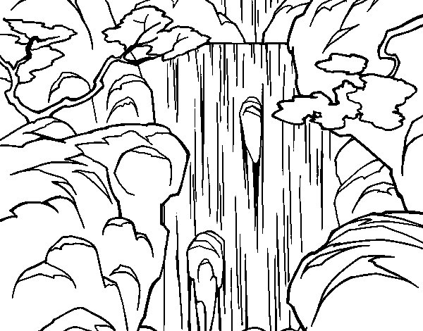 Waterfall coloring page Coloringcrew
