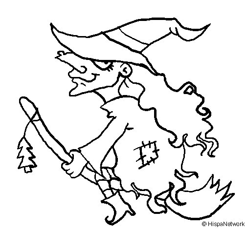 witches on broomsticks coloring pages - photo#13