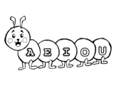 Worm with vowels coloring page