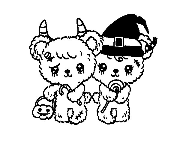 halloween teddy bear coloring pages | Zombie teddy bears coloring page - Coloringcrew.com