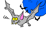 Coloring page Crazy bat painted byjordy