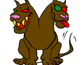 Coloring page Two-headed dog painted byjordy