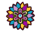 Coloring page Flower Mandala shaped weiss painted bySafera