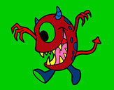 Coloring page Monster with one eye painted byGinger