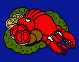 Coloring page Lobster with vegetables painted byLogan