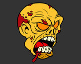 Coloring page Zombie Head painted byt-bone