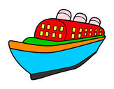 Coloring page Ocean liner ship painted byjoseph