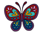 Coloring page Butterfly mandala painted byJacalee