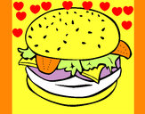 Coloring page Hamburger with everything painted bykare