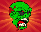 Coloring page Zombie Head painted byJennyGore