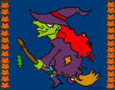 Coloring page Witch on flying broomstick painted bySherry