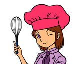 Coloring page Girl-chef painted byeden