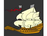 Coloring page 17th century sailing boat painted byJamesr