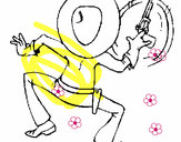 Coloring page Gunman from behind painted byparrot