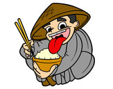 Coloring page Chinese eating rice painted byBigricxi