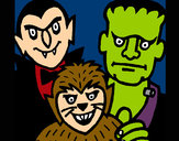 Coloring page Halloween characters painted byBigricxi