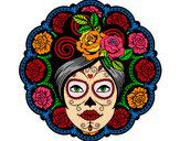 Coloring page Mexican skull female painted bymade12