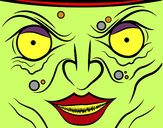 Coloring page Witch face painted bymade12