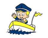 Coloring page Boat and captain painted byjuli