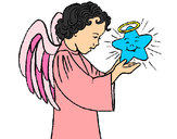 Coloring page Angel and star painted byShebear
