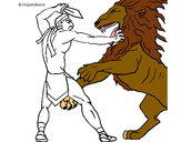 Coloring page Gladiator versus a lion painted byKiara