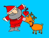 Coloring page Santa Claus and Rudolf painted bycar100