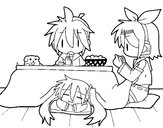 Coloring page Miku, Rin and Len having breakfast painted bynicole2014