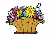 Coloring page Basket of flowers 7 painted bynessab82