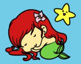 Coloring page Little mermaid chibi sleeping painted byShelbyGee