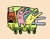 Coloring page Bus rabbits painted bybarbie_kil