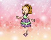 Coloring page Girl with party dress painted bynessab82