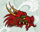 Coloring page Red dragon head painted bybarbie_kil
