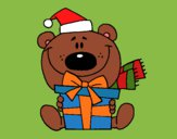 Coloring page Teddy bear with present 1 painted bybarbie_kil