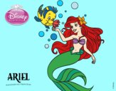 Coloring page The Little Mermaid - Ariel and Flounder painted byKroll1122