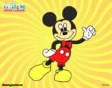 Coloring page Mickey greeting painted byNatalie