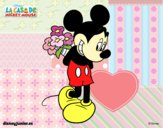 Coloring page Mickey Mouse with a bouquet of flowers painted byNatalie