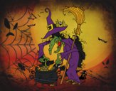 Coloring page Witch with potion painted bybarbie_kil